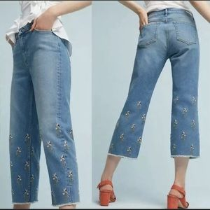 Pilcro & The Letterpress Embroidered Crop Jeans